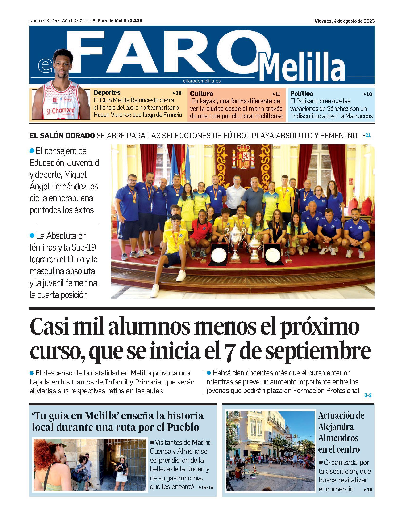 Portada de El Faro de Melilla